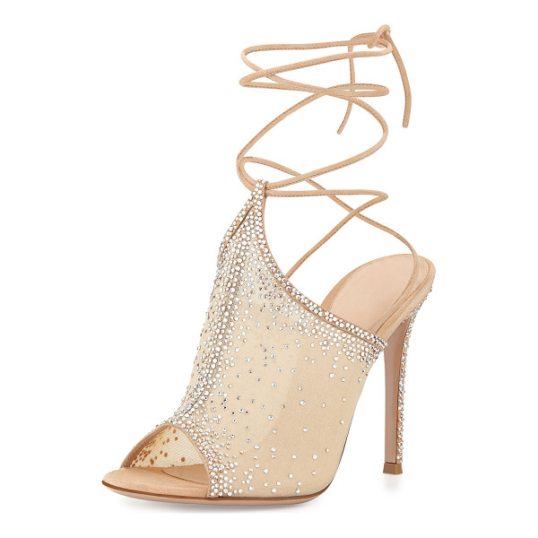 GIANVITO ROSSI Etoile Crystal Lace-Up Sandal - Gianvito Rossi crystal-embellished organza sandal with...