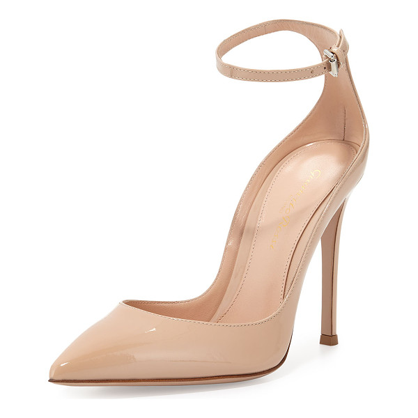 """GIANVITO ROSSI Patent low-collar ankle-wrap pump - Gianvito Rossi patent leather pump. 4. 3"""" covered heel...."""