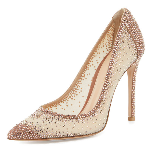 GIANVITO ROSSI Rania Crystal Illusion 105mm Pump - Gianvito Rossi suede pump with crystal-embellished, sheer...