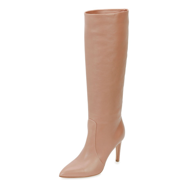 "GIANVITO ROSSI Dana Leather Knee Boot - Gianvito Rossi leather knee boot. 3.3"" covered heel; 16""H"