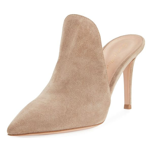 "GIANVITO ROSSI Suede 85mm Cutaway Mule - Gianvito Rossi suede mule. 3.3"" covered stiletto heel...."