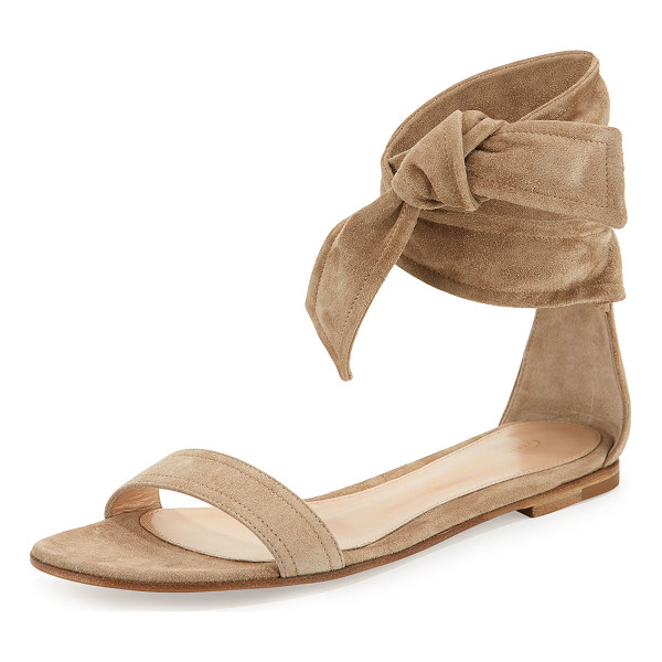 "GIANVITO ROSSI Beverly Suede Ankle-Tie Flat Sandal - Gianvito Rossi suede sandal. 0.3"" stacked flat heel. Thin..."