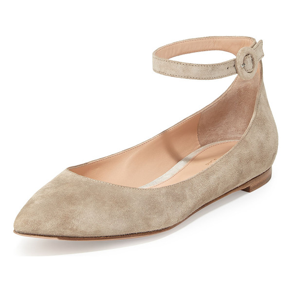 """GIANVITO ROSSI Suede Ankle-Wrap Skimmer Flat - Gianvito Rossi suede skimmer. 0.3"""" flat heel. Pointed toe...."""