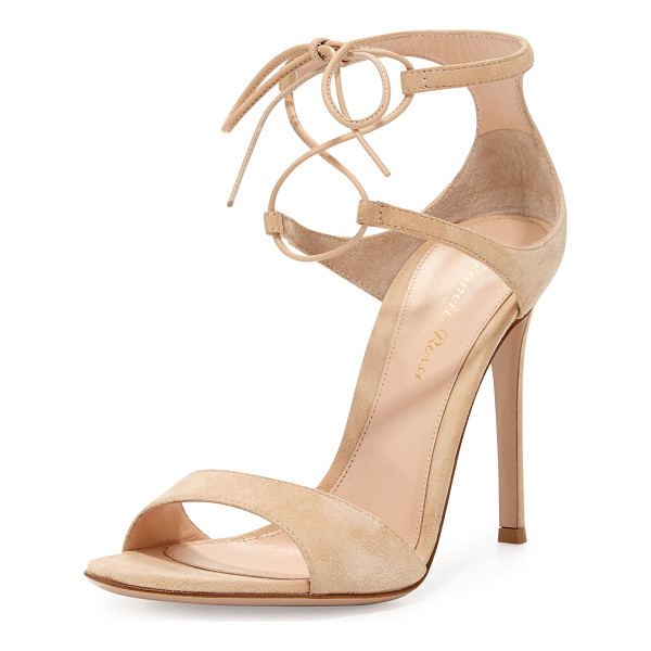 "GIANVITO ROSSI Suede Double Ankle-Wrap Sandal - Gianvito Rossi suede d'Orsay sandal. 4.3"" covered heel...."