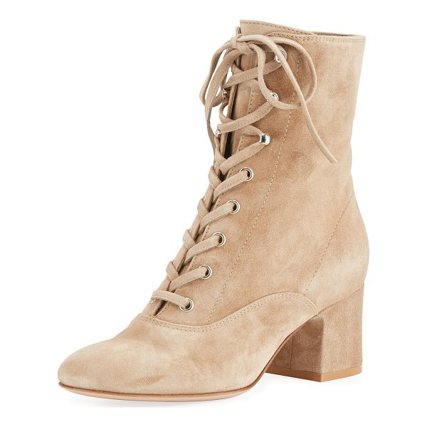 "GIANVITO ROSSI Mackay Suede Lace-Up 60mm Bootie - Gianvito Rossi suede bootie. 2.4"" covered block heel. Round..."
