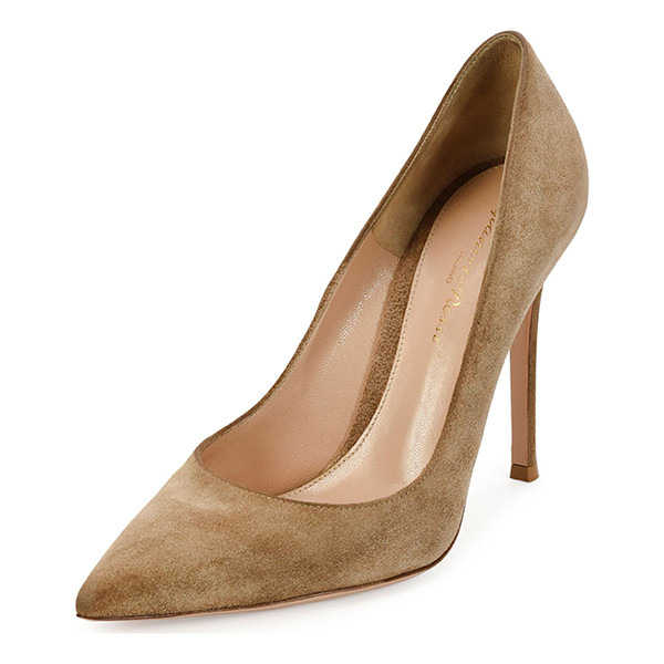 """GIANVITO ROSSI Suede point-toe 105mm pump - Gianvito Rossi suede pump. 4. 3"""" covered heel. Pointed toe...."""