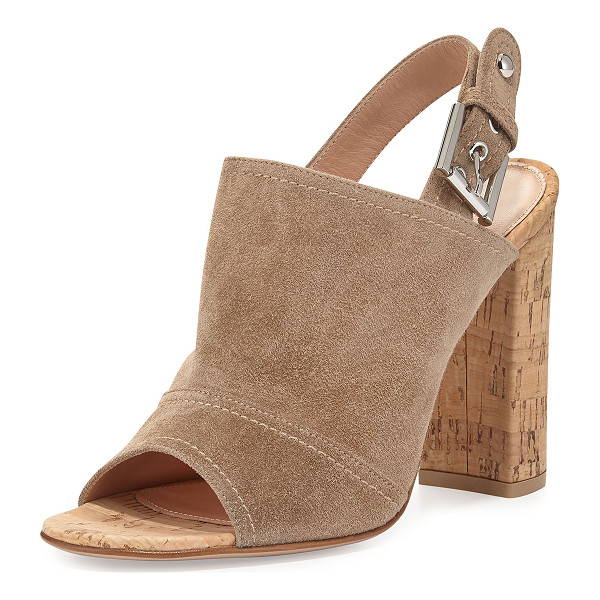 """GIANVITO ROSSI Marcy Suede Slingback Sandal - Gianvito Rossi suede sandal. 4"""" cork block heel. Open toe...."""