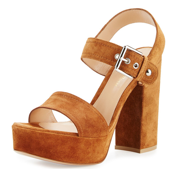 "GIANVITO ROSSI Suede Two-Band Platform Sandal - Gianvito Rossi sandal with suede upper. 4.8"" covered block"
