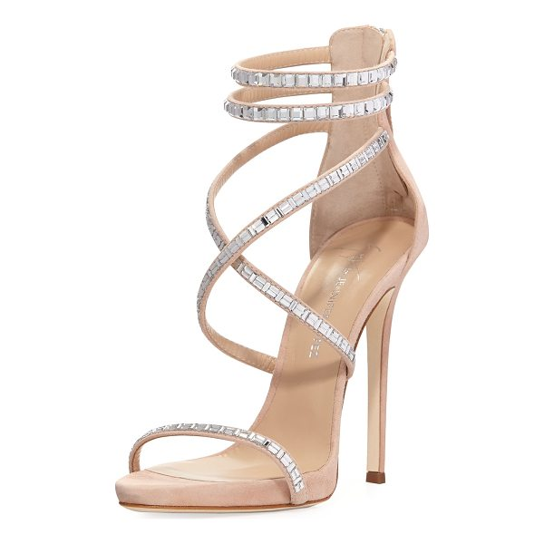 GIUSEPPE ZANOTTI FOR JENNIFER LOPEZ Coline Suede and Crystal Sandal - Giuseppe Zanotti for Jennifer Lopez suede sandal with...