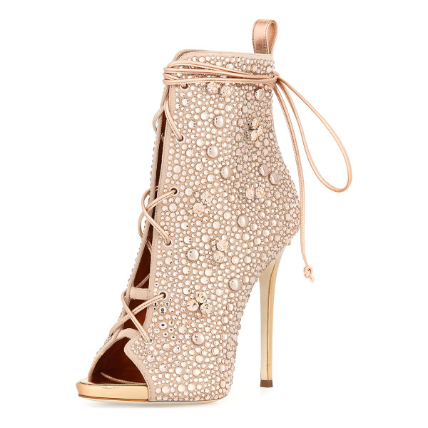 GIUSEPPE ZANOTTI FOR JENNIFER LOPEZ Jeweled Lace-Up Open-Toe 120mm Bootie - Giuseppe Zanotti for Jennifer Lopez jeweled suede bootie....