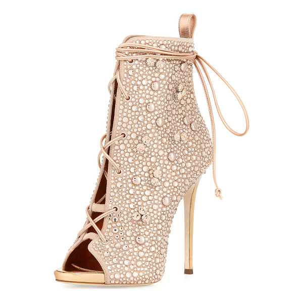 GIUSEPPE ZANOTTI FOR JENNIFER LOPEZ Lynda Crystal Open-Toe 120mm Bootie - Giuseppe Zanotti for Jennifer Lopez crystal-studded suede...