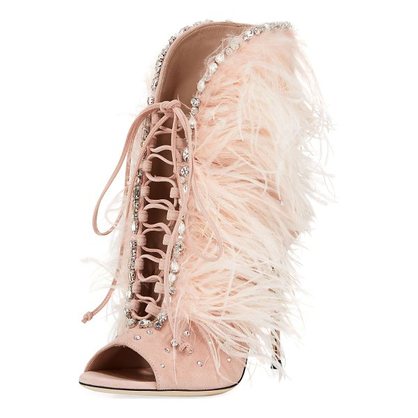 GIUSEPPE ZANOTTI Jeweled Feather Suede Lace-Up Bootie - EXCLUSIVELY AT NEIMAN MARCUS Giuseppe Zanotti suede bootie...