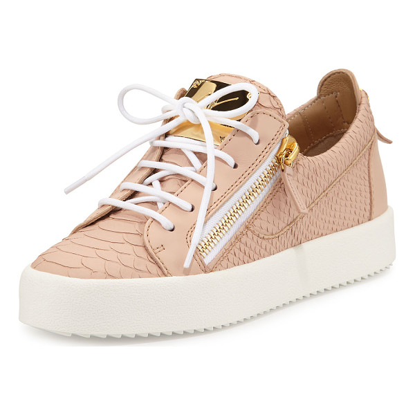 GIUSEPPE ZANOTTI May snake-embossed lace-up sneaker - Giuseppe Zanotti snake-embossed leather sneaker with smooth...