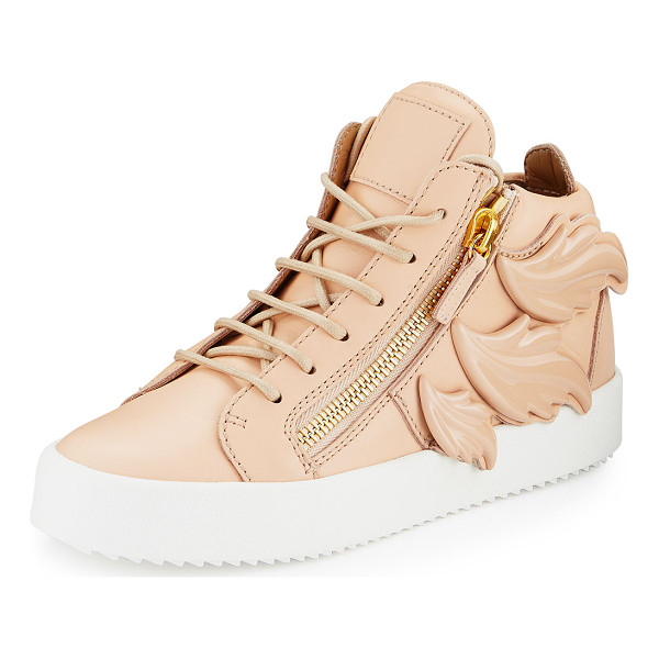 "GIUSEPPE ZANOTTI Maylondon Wings Side-Zip Sneaker - Giuseppe Zanotti leather high-top sneaker. 1.3"" flat"