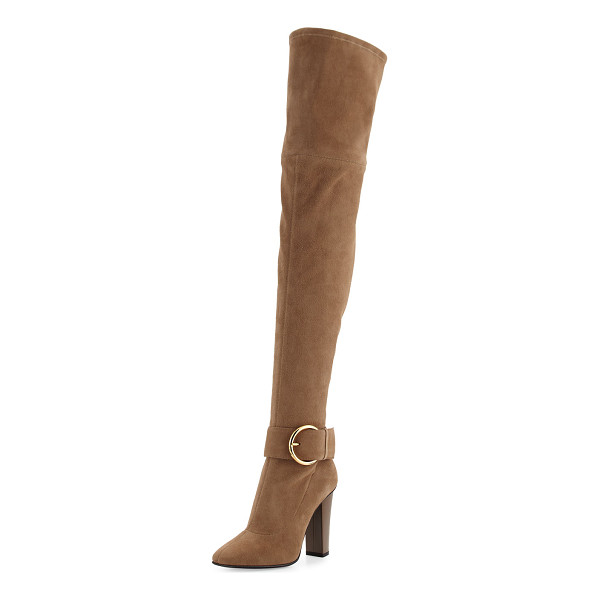 """GIUSEPPE ZANOTTI Stretch-Suede Buckle Over-the-Knee Boot - Giuseppe Zanotti stretch-suede over-the-knee boot. 4.3""""..."""