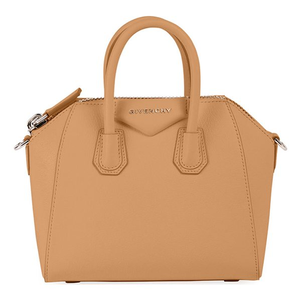 "GIVENCHY Antigona Mini Leather Satchel Bag - Givenchy ""Sugar"" grained goatskin bag with shiny palladium..."