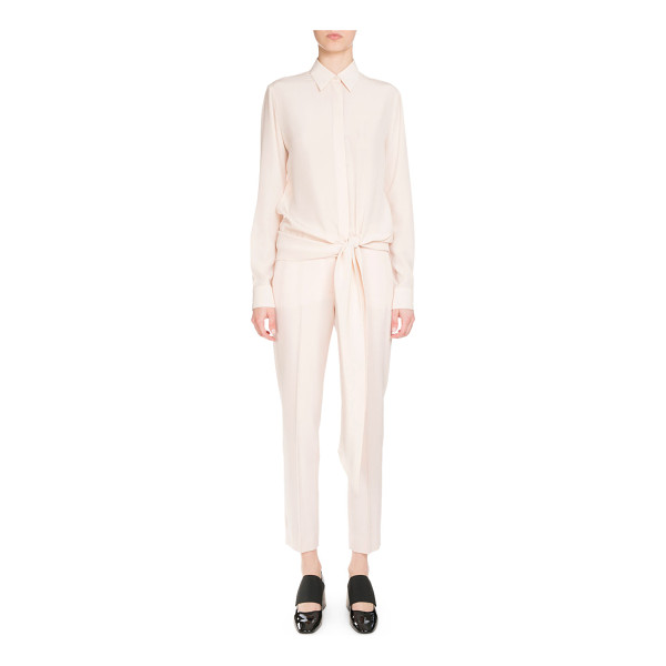 "GIVENCHY Button-Front Tie-Waist Blouse - Givenchy crepe blouse. Approx. 29""L from shoulder to hem...."