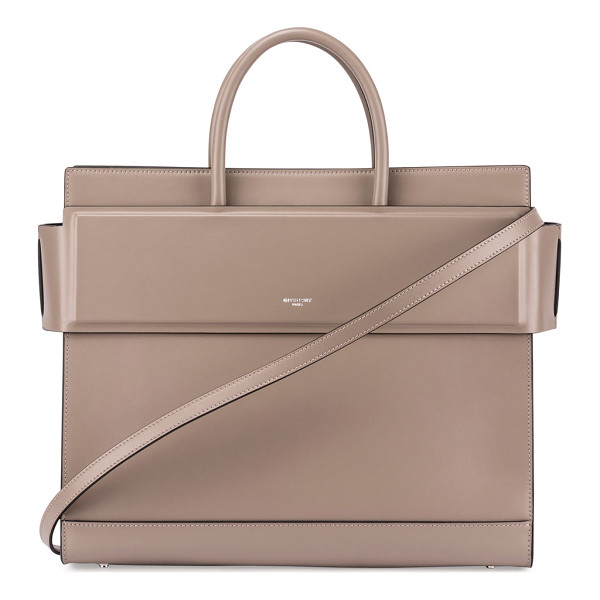 GIVENCHY Horizon Medium Leather Tote Bag - Givenchy smooth calfskin tote bag. Shiny palladium