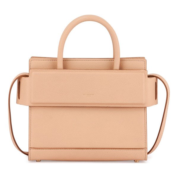 GIVENCHY Horizon Mini Grain Leather Satchel Bag - Givenchy grained calf leather satchel bag. Rolled top...