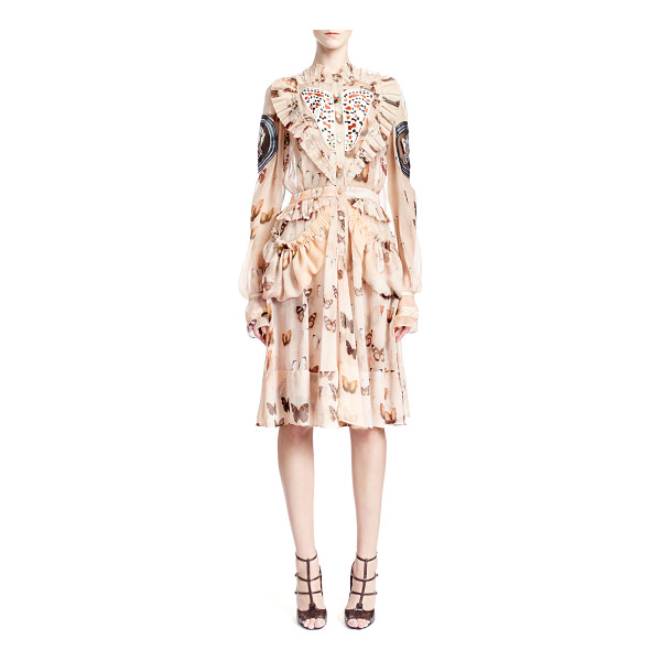 GIVENCHY Long-sleeve butterfly-print silk dress - Butterfly-print silk chiffon dress by Givenchy. Pleated...