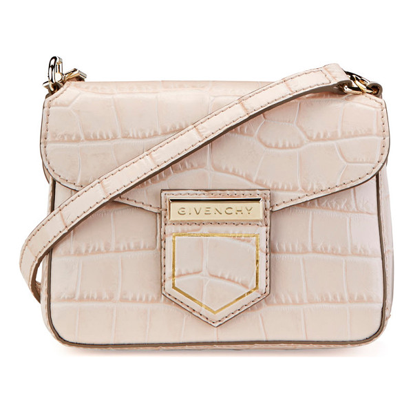 GIVENCHY Nobile Mini Crocodile-Embossed Shoulder Bag - Givenchy crocodile-embossed leather shoulder bag. Available