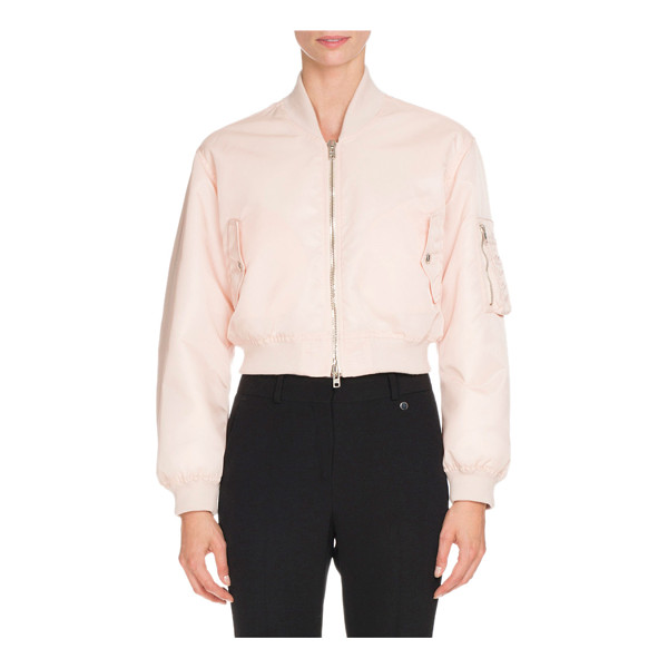 GIVENCHY Nylon Zip-Front Cropped Bomber Jacket - Givenchy nylon bomber jacket with banded trim. Baseball...