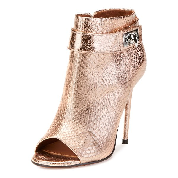 "GIVENCHY Snakeskin Shark-Lock Open-Toe Bootie - Givenchy metallic snakeskin bootie. 4.3"" covered heel. Open..."