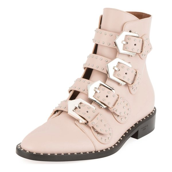 GIVENCHY Studded Leather Ankle Boot - Givenchy ankle boot in studded leather. Flat stacked heel....
