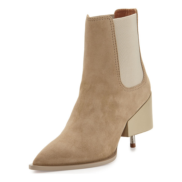 """GIVENCHY Suede Screw-Heel Chelsea Boot - Givenchy suede Chelsea boot. 3.5"""" block/screw heel. Pointed..."""