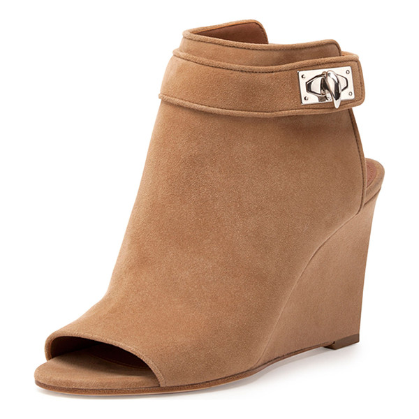 GIVENCHY Suede shark-lock peep-toe wedge bootie - Givenchy suede bootie, finished with signature shark-tooth...
