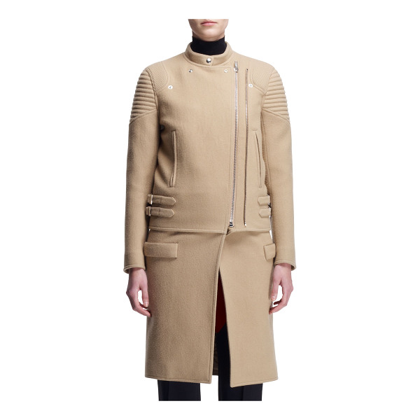 "GIVENCHY Double-zip long moto coat - Givenchy wool-blend moto coat. Size 2 measures approx. 23""L..."