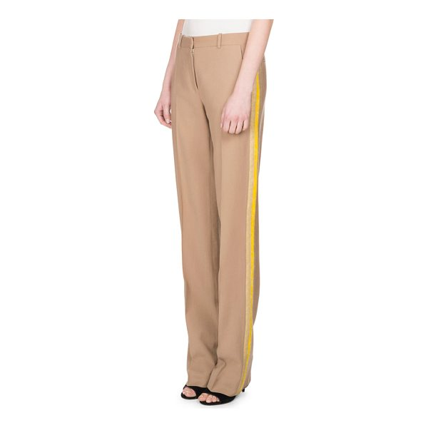 GIVENCHY Wool Track-Stripe Straight-Leg Trousers - Givenchy lightweight trousers with track stripes along...