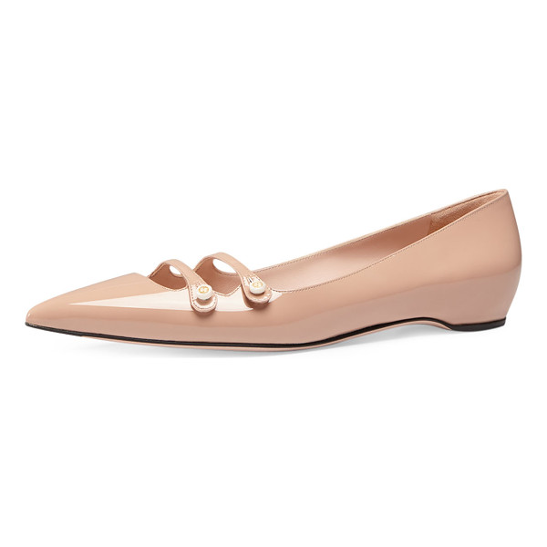 "GUCCI Aneta double-strap patent flat - Gucci patent leather flat. 0. 5"" flat heel. Pointed toe...."