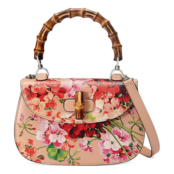 GUCCI Bamboo Classic Blooms Small Top-Handle Bag - Gucci blooms print leather top-handle bag. On mould...