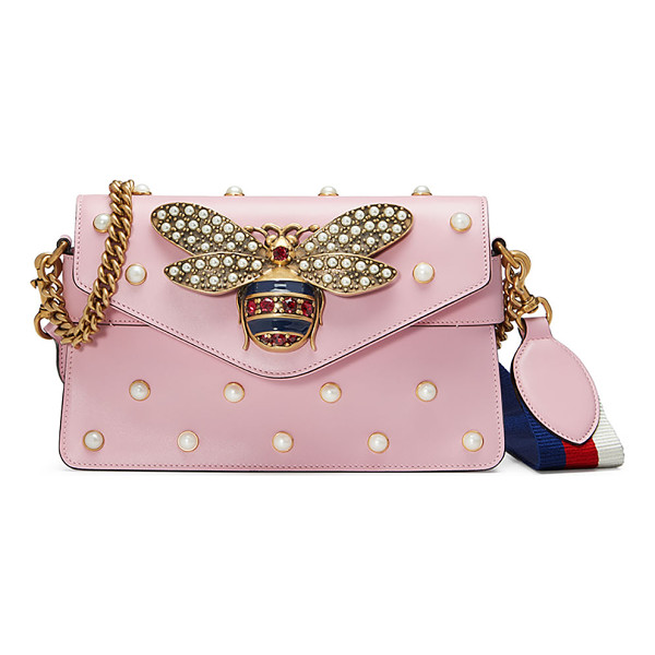 GUCCI Broadway Pearly Bee Shoulder Bag - Gucci leather shoulder bag with allover pearly studs....