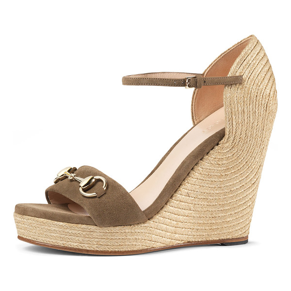 "GUCCI Carolina Suede Wedge Espadrille Sandal - Gucci kid suede d'Orsay sandal. 3.3"" braided jute wedge"