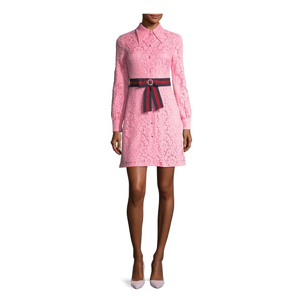GUCCI Cluny Lace Dress with Web Waistband - Pink cluny lace. Blue/red Web ribbon waistband and jeweled...