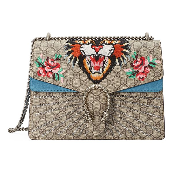 GUCCI Dionysus Angry Tiger Bag - Gucci GG supreme canvas shoulder bag with suede trim....