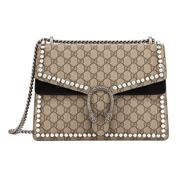 GUCCI Dionysus GG Canvas Chain Shoulder Bag with Crystals - Beige/ebony GG Supreme canvas, a material with...