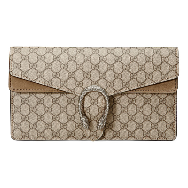 GUCCI Dionysus gg supreme small clutch bag - Gucci GG supreme canvas clutch bag with suede trim....
