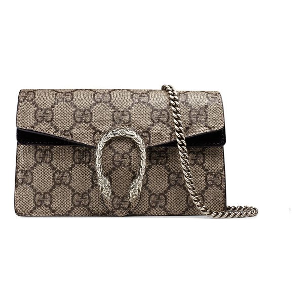GUCCI Dionysus GG Supreme Super Mini Bag - Gucci GG supreme canvas shoulder bag. Attached key ring