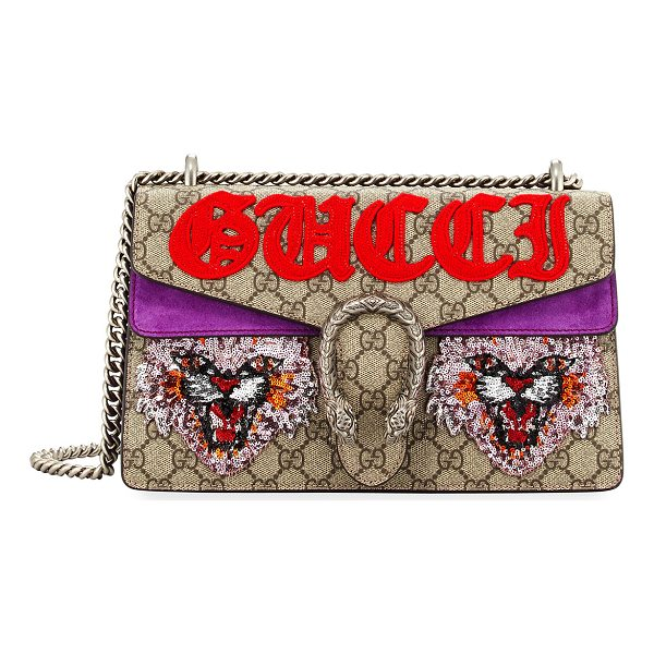 GUCCI Dionysus Small Angry Cat Shoulder Bag - Gucci GG supreme canvas and leather shoulder bag with...