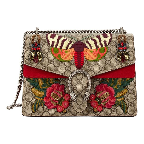 GUCCI Dionysus Medium Embroidered GG Supreme Shoulder Bag - Beige/ebony GG Supreme canvas, a material with...