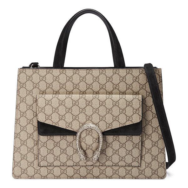 GUCCI Dionysus Medium GG Supreme Tote Bag - Gucci GG supreme canvas tote bag with suede trim. Flat top