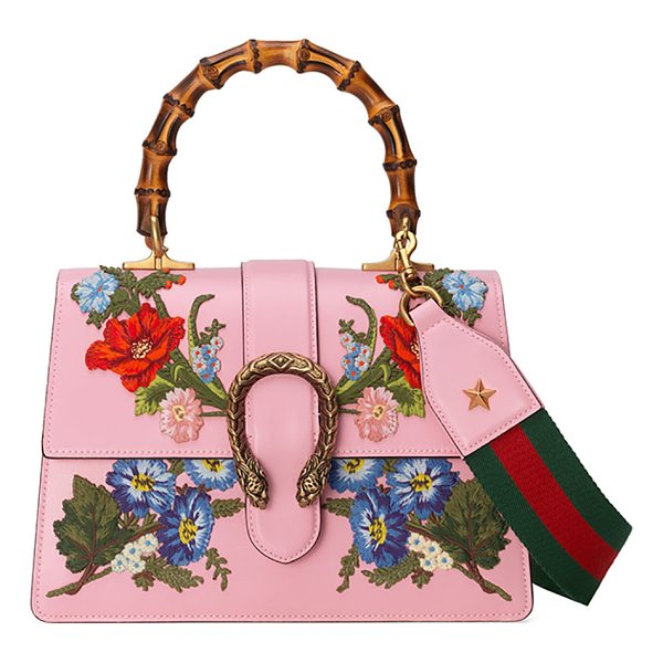 "GUCCI Dionysus Small Embroidered Floral Satchel Bag - Gucci ""Dionysus"" leather satchel bag with embroidered..."