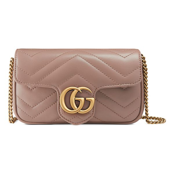 GUCCI GG Marmont Matelassé Leather Super Mini Bag - Gucci matelass chevron leather shoulder bag. Attached key...