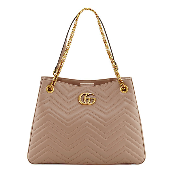 GUCCI GG Marmont Matelassé Shoulder Bag - Gucci matelass leather hobo bag with golden hardware.