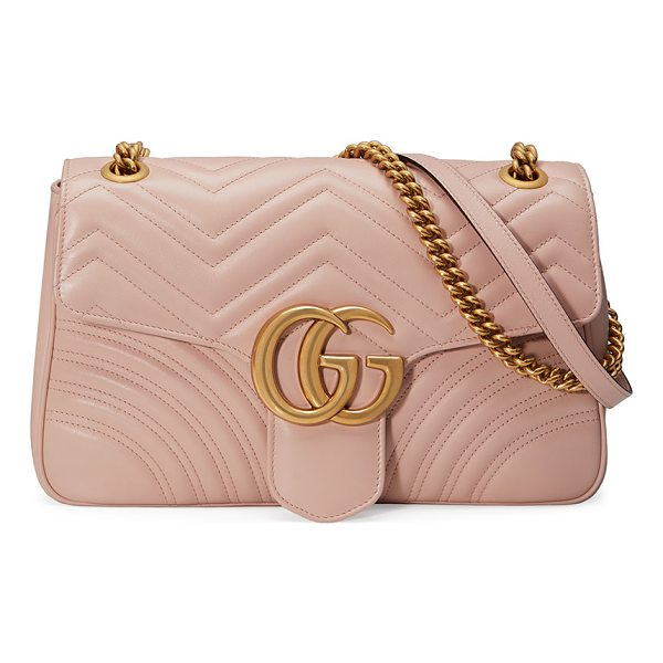 "GUCCI GG Marmont Medium Leather Shoulder Bag - Gucci ""Marmont"" quilted leather shoulder bag. Sliding chain..."
