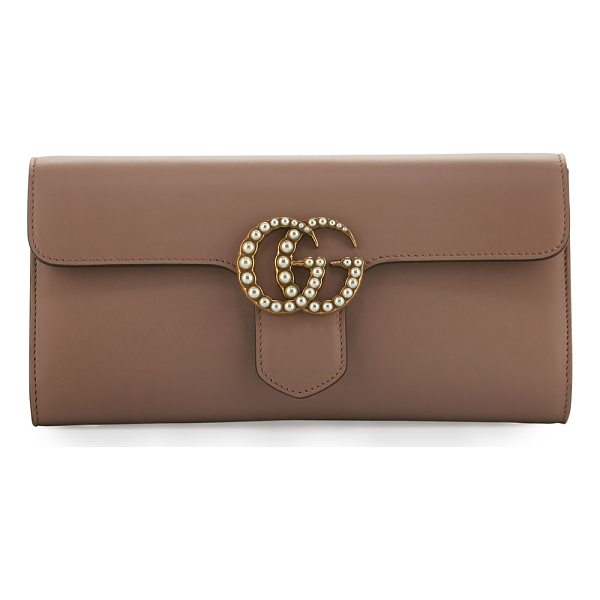 GUCCI GG Marmont Pearly Leather Clutch Bag - Gucci smooth leather clutch bag with golden hardware....