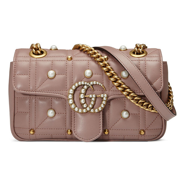 GUCCI GG Marmont Pearly Matelassé Mini Bag - Gucci matelass leather shoulder bag with pearly studs....
